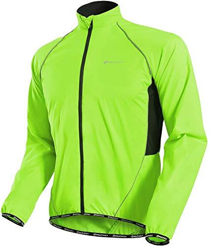 NUCKILY Uomo Ciclismo Giacca Leggero Anti-UV Jersey Antivento Impermeabile Cappotto In Esecuzione Windbreaker Impermeabile Outdoor Sportswear, Uomo, MJ004 Verde neon, M