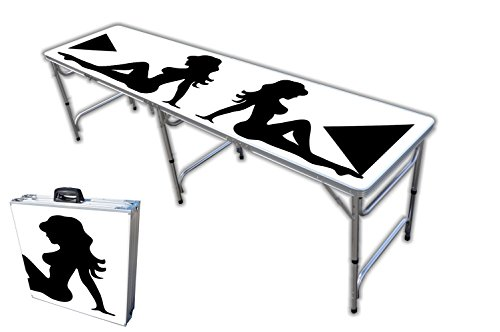 8-Foot Professional Beer Pong Table/Tailgate Table/Picnic Table - Trucker Girl Graphic