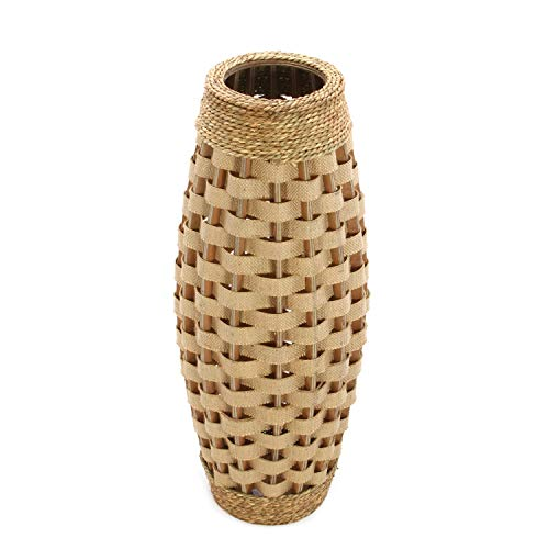 "Hosley's 24"" High Wood and Grass Floor Vase. Ideal Gift for Weddings, Home Decor, Long dried Floral, Spa, Aromatherapy, Umbrella / Cane Stand O6"