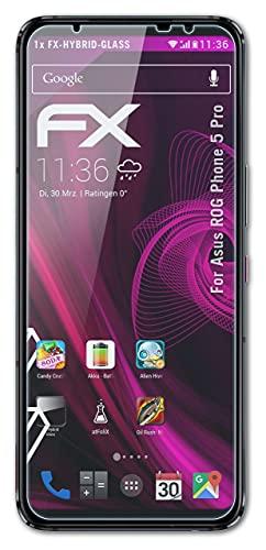 atFoliX Lámina Protectora de plástico Cristal Compatible con ASUS ROG Phone 5 Pro Película Vidrio, 9H Hybrid-Glass FX Protector Pantalla Vidrio Templado de plástico