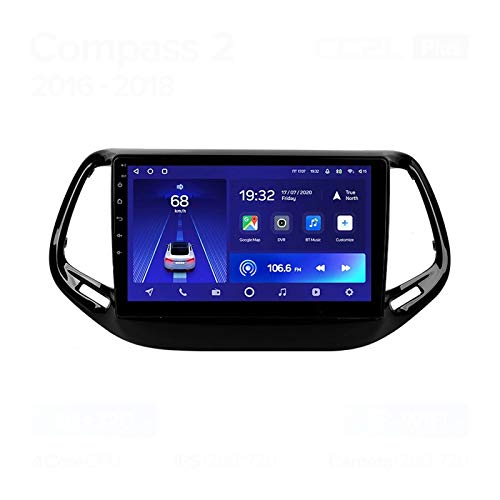Radio Estéreo De Coche Bluetooth Apoyo De Reproductor MP5 Llamadas Manos Libres Radio FM Enlace Espejo/WiFi/AUX Entrada/1080P Video/SWC, para Jeep Compass 2 2016-2018,Quad Core,WiFi 1+32