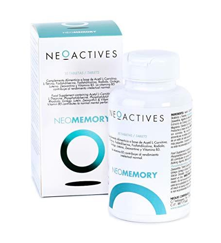NeoMemory | Acetil L-Carnitina, L-Teanina, Fosfatidilserina, Rodiola, Ginkgo, Luteína, Zeaxantina y Vitamina B5 | Ayuda al rendimiento intelectual normal y disminuir cansancio y fatiga (30)
