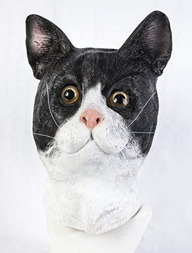 The Rubber Plantation TM- Masque en latex pour chat - Accessoire de déguisement pour Halloween, Unisexe-Adulte, 619219293501, Multicolore, Taille unique