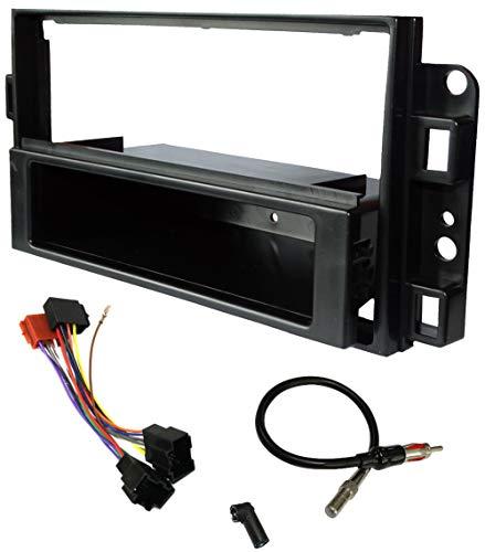 AERZETIX - Kit de montaje de radio de coche estándar 1 y 2DIN - Marco, cable enchufe y adaptadores de antena - Negro - C11562A