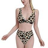 Leopard Print Deep V-Neck High Waist Bikini Sets Summer Swimwear Bathing Suit for Woman Two Piece Split Sports Bikini Beach Large