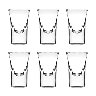 Adouiry 1-Oz Shot Glass Set of 6,Heavy Base Clear Shot Glass, Great for Whisky Brandy Vodka Rum and Tequila Shot Set