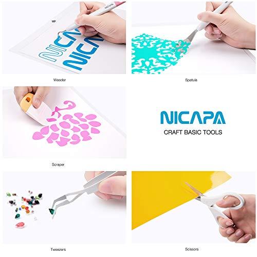 Nicapa Basic Tool Set Craft Weeding Vinyl Cardstock Crafting Tools Kit for Cricut/Silhouette/Siser/Oracal 631 651 751 Vinyl