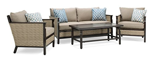 La-Z-Boy Outdoor Colton 4-Piece Resin Wicker Patio Furniture Conversation Set with Cast Shale Sunbrella Cushion (1 Patio Loveseat, 2 Lounge Chairs, Coffee Table)