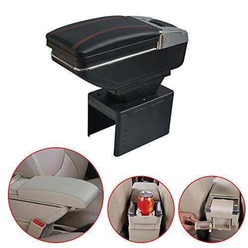 Cobear Universal Auto Mittelarmlehne Box Leder Unterstützung Mittelkonsole Armlehne mit Aschenbecher Telefon/Getränke Halter Schwarz
