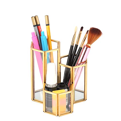 Makeup Brush Pen Holder, Handcrafted Clear Glass Cosmetic Brushes Organizer Nordic Style Elegant Pencil Holder Decoration Make up Brushes Holder with 3 Compartment for Vanity Bathroom Bedroom Office