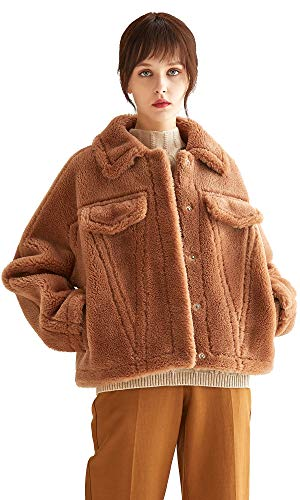 VUTOLEE Women Faux Fur Coat - Fashion Winter Warm Shearling Shaggy Jacket Windproof Loose Shoulder Lapel Lamb Fur Coats L11 Coffee Brown