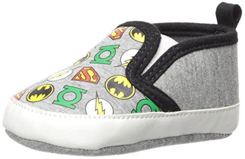 DC Comics Baby Boys Character Infant Shoes, Justice League twin Gore Slip/Ons, 6-9 Months