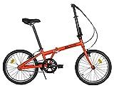 FabricBike Folding Bicicleta Plegable Cuadro Aluminio Ruedas 20' 3 Colores (Matte Red)