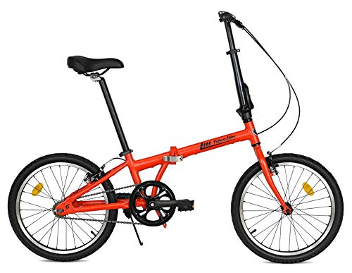 FabricBike Folding Pieghevole in Alluminio, 20', Bicicletta Single Speed, 3 Colori (Matte Red)