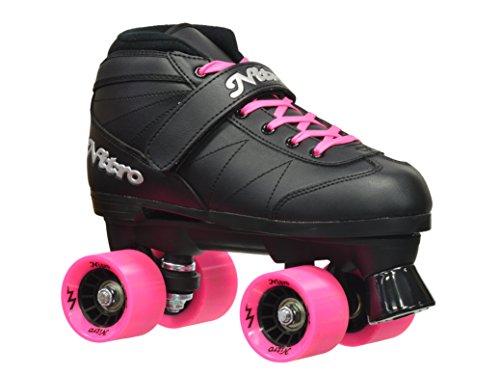 Epic Skates Super Nitro Indoor/Outdoor Quad Speed Roller Skates, Black/Pink, Adult 7
