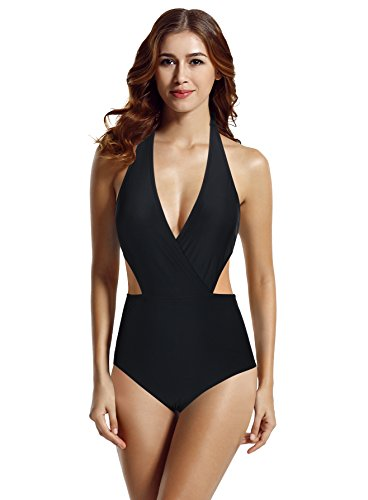 zeraca Women's Surplice Neckline High Waisted Halter One Piece Swimsuit Bathing Suit (Black, S6)