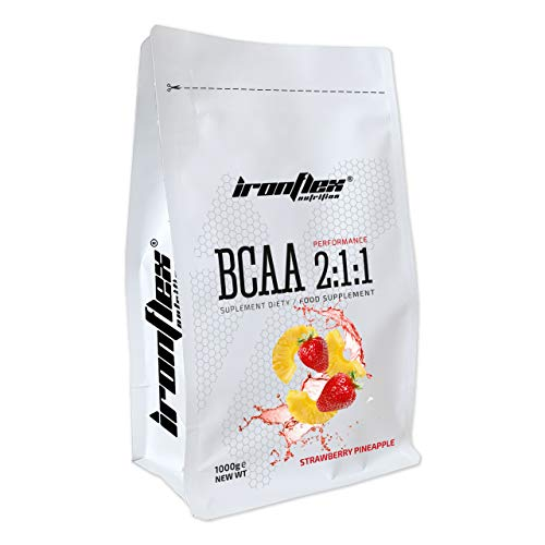 Iron Flex BCAA 2-1-1-1 Pack - Branched Chain Amino Acids in Powder - Muscle Regeneration - Anticatabolic (Strawberry Pineapple, 1000g)