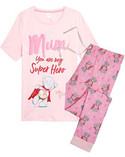 Ik Aan U Dames Pyjama Tatty Teddy, 2 Stuk PJ's Set met Korte Mouwen en Leggings Mum Geschenken, 100% Katoen Nachtkleding Slaapmode pyjama Sets voor Vrouwen