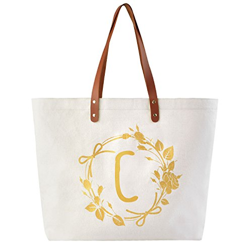 ElegantPark Monogrammed Gifts for Women Personalized Gifts Bag Monogram C Initial Bag Tote for Wedding Bride Bridesmaid Gifts Birthday Gifts Teacher Gifts Bag with Pocket Canvas
