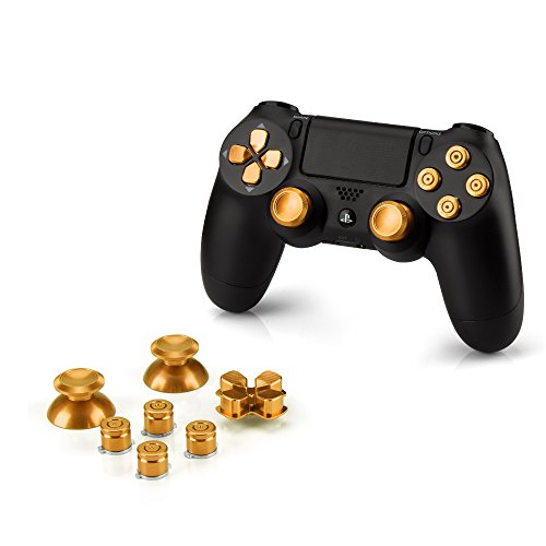 OKCS Ricambio per Sony Playstation 4 Dualshock 4 Controller in Alluminio Thumb Sticks Button D-Pad PS4 Gold