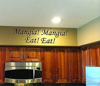 Italian Kitchen Decor Mangia! Mangia! Eat! Eat! Vinyl Wall Decal - Mangia Decal - Kitchen Wall Decal