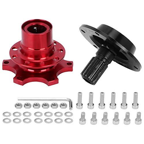 Auto-Lenkradnabenadapter, Lenkradnabe, 6-Loch-Lenkrad Schnellverschluss-Trennnabenadapter-Kit Autoreparaturwerkzeug für Rennwagen(rot)