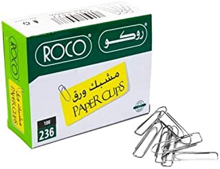 Roco Plated Paper Clip 100-Pieces, 50 mm Length x 10 mm Width, Silver