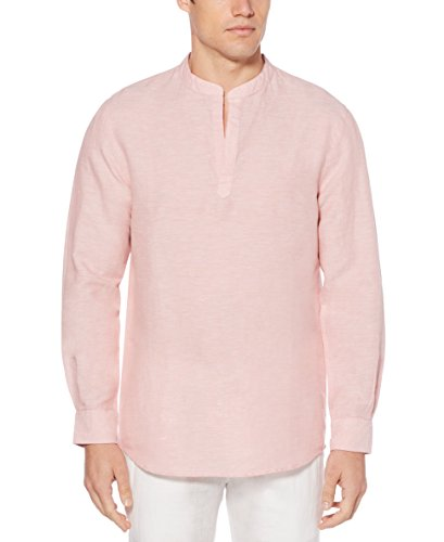 PERRY ELLIS Men's Long-Sleeve Solid Linen Cotton Popover Shirt, Himalayan Pink, Large