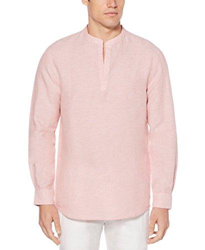 Perry Ellis – Camisa de Manga Larga para Hombre (Lino y algodón), Rosa del Himalaya, Large