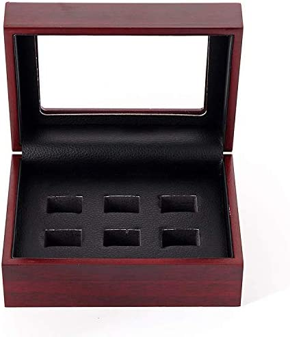 WISHDIAM Championship Rings Display Case Wooden Display Ring Box 6 Holes product image