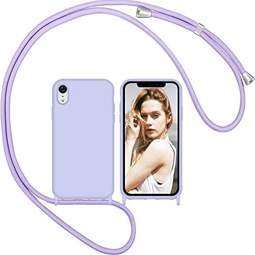 Nupcknn Funda Silicona con Cuerda para iPhone XR, Carcasa Suave Silicona Case con Correa Colgante Ajustable Collar Correa de Cuello Cadena Cordón(Púrpura)
