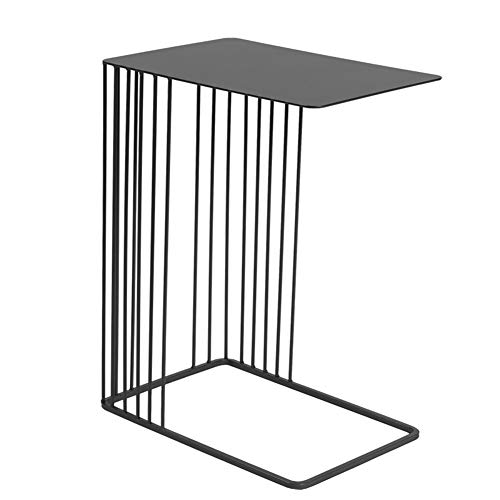 TY-ZWJ Moderno Muebles Mesita, Moderna Minimalista sofá de la Esquina Mesita de Noche Mini Mesa de Hierro Forjado Aparador Mesa Cuadrada Pequeña,Negro