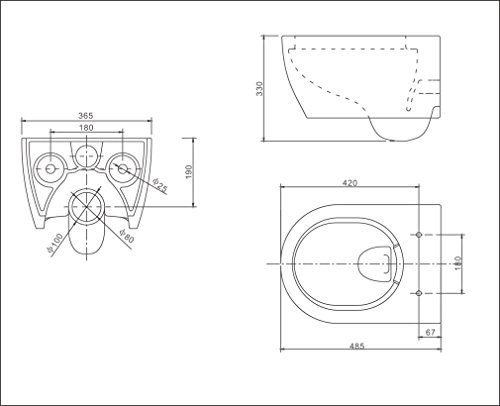 SSWW Design Hänge WC Spülrandlos Toilette inkl. WC Sitz mit Softclose Absenkautomatik + Abnehmbar - 8