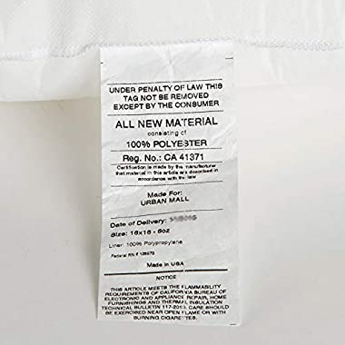 Foamily Premium Hypoallergenic Stuffer Pillow Insert Sham Square Form Polyester, 16  L X 16  W, Standard/White