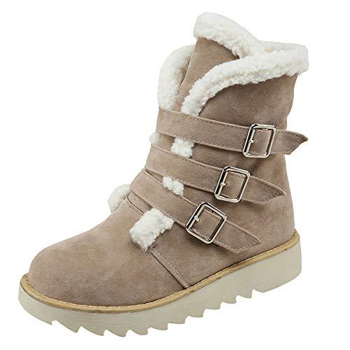 TUDUZ Kurzschaft Schnürstiefel Damen Suede Round Toe Schnalle Flache Schuhe Halten Warm Short Tube Snow Boots
