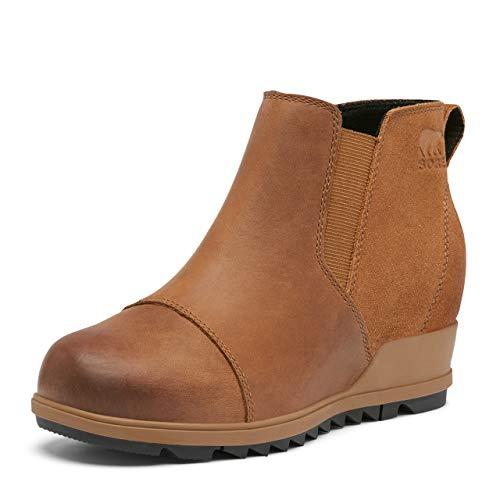 SOREL Women's Evie Pull-On Rain Boot — Velvet Tan — Waterproof Suede Leather — Wedge Ankle Booties — Size 9