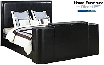 Home Furniture Direct Miles Black Cal King Bed with TV Lift
