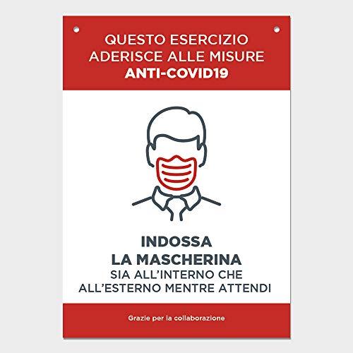 Cartello COVID 19 con fori - Segnaletica norme sicurezza e comportamento - Cartelli rigidi 21x29.7cm COV-IF020 (Indossa la mascherina)