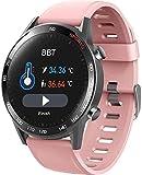 Reloj inteligente deportivo Bluetooth con pantalla táctil completa, pulsera de fitness, frecuencia cardíaca, presión arterial, salud, deporte, reloj inteligente, color rosa