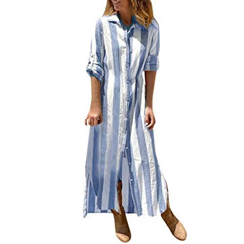 LOPILY Kleid Damen Gestreiftes Blusekleid 1/2 Arm Langes Kleid Talliertes Tunika Kleid Basic Innen Kleid Sommer Casual Lässiges Strandkleid für Urlaub mit Knopfleiste (Blau, 40)