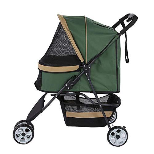 Zouminy Pet Stroller 3 Wheels Pet Stroller Opvouwbare hondenkattendrager voor kleine tot middelgrote honden / katten voor op reis, groen