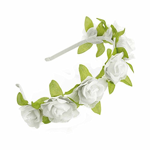 GIZZY® Girls Floral With Green Leaves Head Band Perfect Bridesmaid, Flower Girls (White)