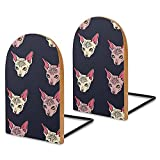 Sphinx Cats Book Ends for Shelves Wooden Bookends Holder for Heavy Books Divider Modern Decorative 1 Pair