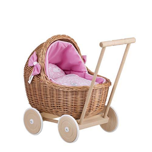 Naturfarbiger Puppenwagen aus Weide (mit Bettwäsche)