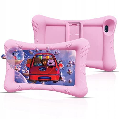 Pritom Tablet para niños de 7 pulgadas, Android 10, ROM de 32 GB, WiFi, Bluetooth, cámara dual, educación, control parental, software para niños preinstalado con estuche para tableta para niño