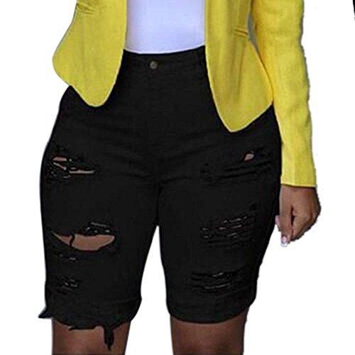 GDJGTA Women Ripped Holes Jeans Denim Pencil Shorts Pants Female High...