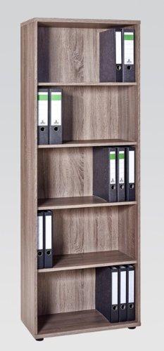 Büroeinrichtung Büromöbel Aktenschrank Aktenregal Trüffel-Eiche Schreibtisch Weiß (Aktenregal 5OH (1265))
