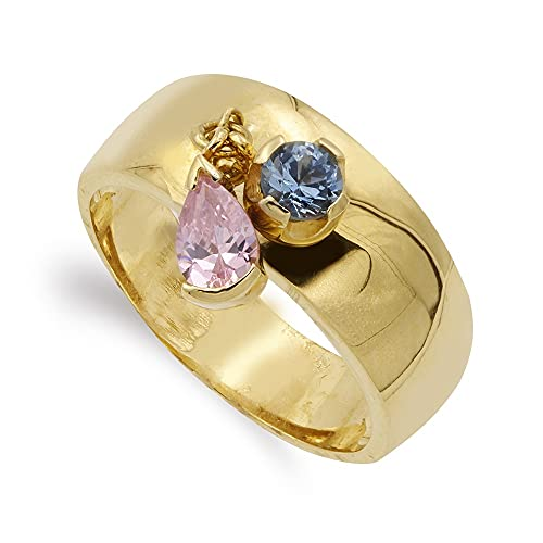 Sortija oro 18k mujer aguamarina combinada piedras rosas