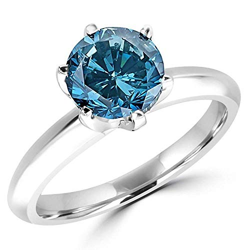 3/4 Carat 14K White Gold Blue Diamond Solitaire Ring (AAA Quality)