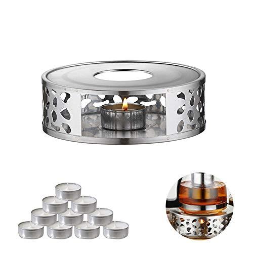 RayE Stövchen für Teekanne, Stövchen Teewärmer aus Edelstahl mit Teelichthalter Tee-Basis hitzebeständige Teekannen für Kaffee und Tee + 10PCS Weiß Teelichter